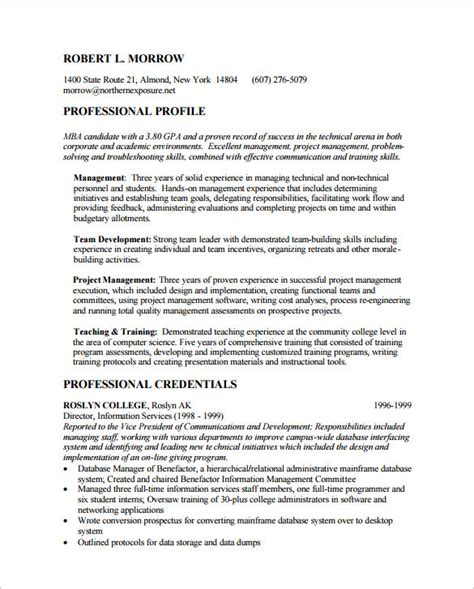 Cv For Mba Application by Mba Resume Template 11 Free Sles Exles Format