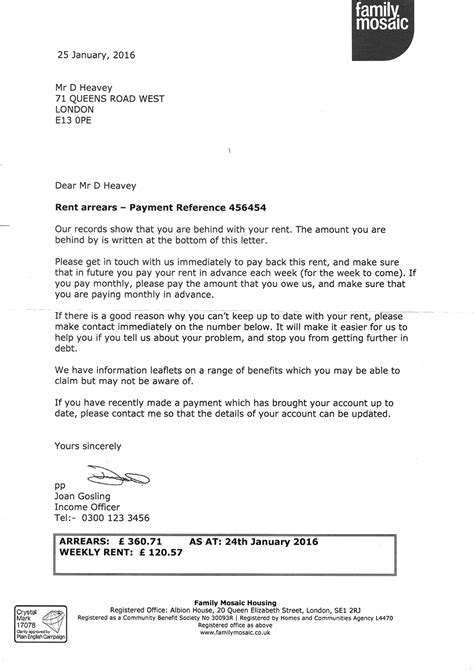 Rent In Arrears Letter Network For Church Monitoring N4cm Rent Arrears Letter Issued In Error Information