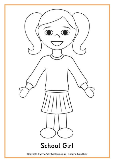coloring pages of a girl school girl colouring page