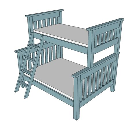 ana white twin over full simple bunk bed plans diy