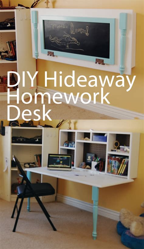 Diy Hideaway Homework Wall Desk Boys Rooms Pinterest Small Child S Desk