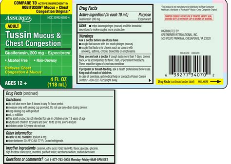 tussin mucus  chest congestion liquid assured dollar tree greenbrier international