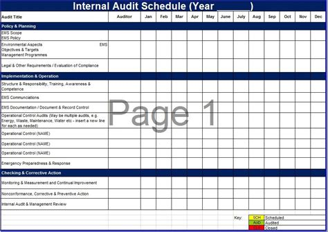 8 Free Sle Audit Schedule Templates Printable Sles Audit Template Excel