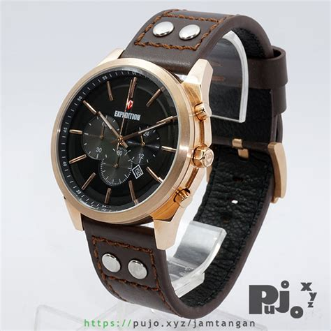 Jam Expedition E6655m jual expedition e 6655 gold kulit coklat jam