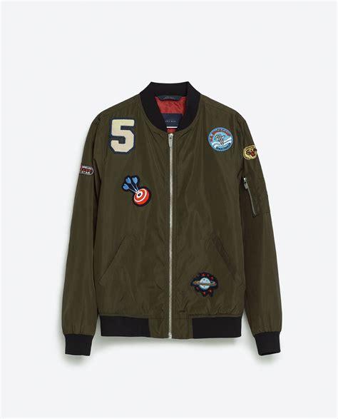 Jacket Bomber Patch Black Jaket Wanita zara patch crepe bomber jacket in black for lyst