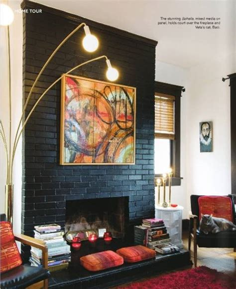 Black Painted Brick Fireplace by Painting Exposed Brick Your Thoughts Design Indulgences