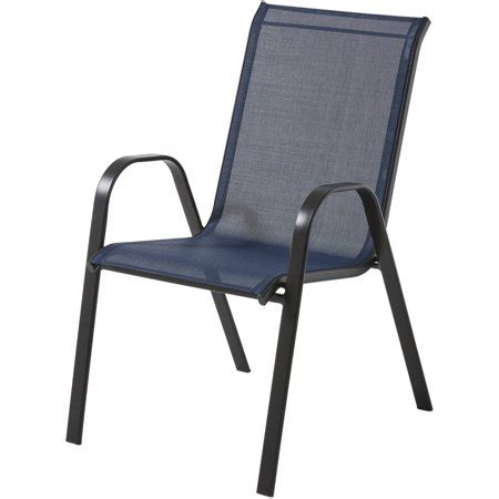 mainstays heritage park stacking sling chair navy blue