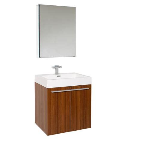 23 Inch Teak Modern Bathroom Vanity with Medicine Cabinet