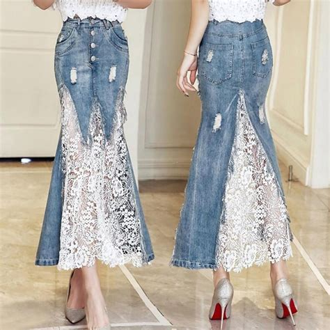 Lace Mermaid Skirt new fashion s denim lace mermaid skirts summer high