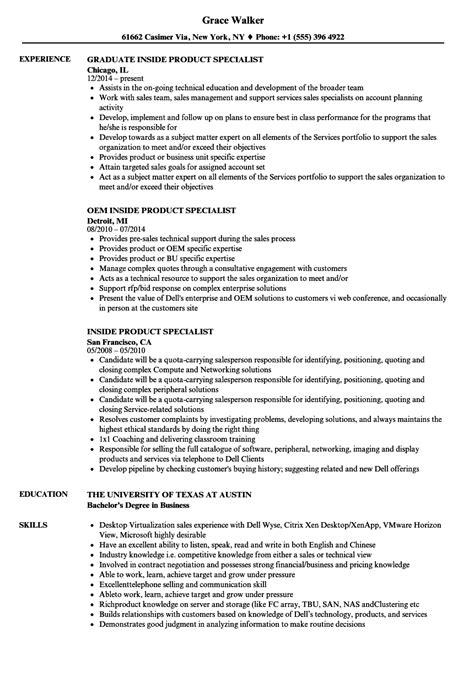 inside product specialist resume sles velvet