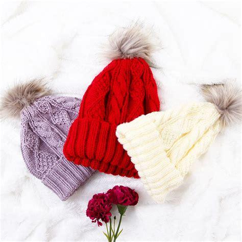 Hat Fur Cap Topi Rajut Wool Untuk Musim Dingin perlengkapan musim dingin 3 color scarf hat tb170905 white coat korea