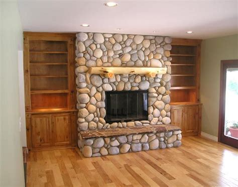 best 25 river rock fireplaces ideas on