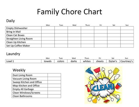 family chore chart template scope of work template