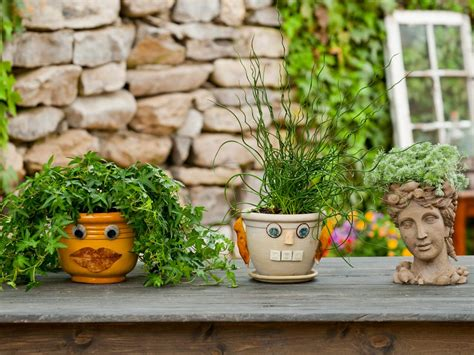 flower pots with faces on them decorative planters put a face on your garden pots how