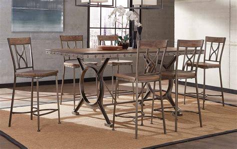 hillsdale furniture dining room paddock 7 counter height hillsdale paddock 7 counter height dining set brushed steel metal distressed brown