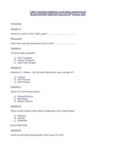 printable quiz about black history 5 best images of black history trivia questions and