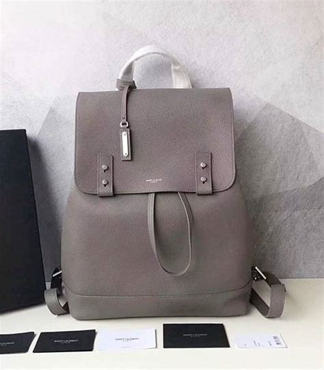 Ysl Litchi Veins replica ysl grey litchi veins calfskin leather backpack