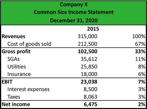 first section of income statement what is a common size income statement definition