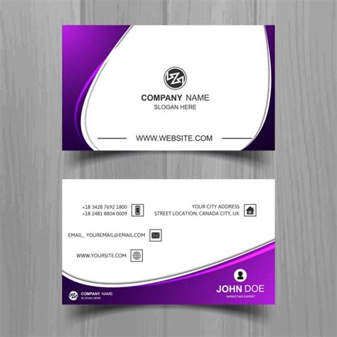 purple business card template wavy business card with purple details vector free