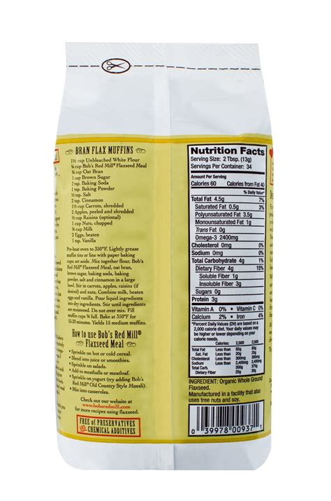 bobs red mill gluten  flaxseed meal brown oz