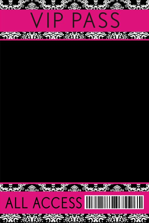 pink black damask vip pass invitation  lanyard personalized party invites