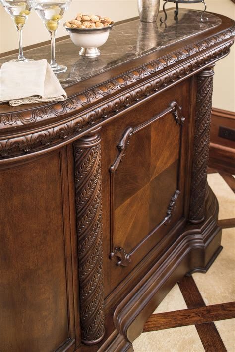 north shore bar with marble top north shore marble top bar ashley furniture d553 65 home bars
