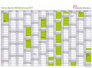 Kalender 2018 Ferien Feiertage Bw Ferien Baden W 252 Rttemberg 2017 Ferienkalender Zum Ausdrucken
