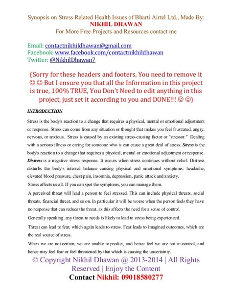 S Issues Healthcare Mba by Synopsis Of Mba Stress Related Health Issues A Study Of