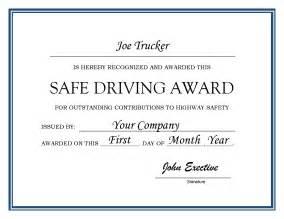 Safe driver award certificates