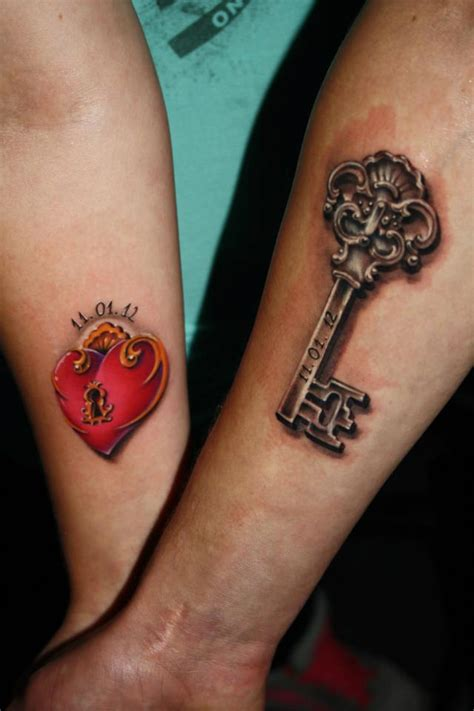 24 cute heart key tattoos