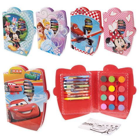 Kidsme Travel Easy Set 29 29pc disney crayons paint colouring sheets
