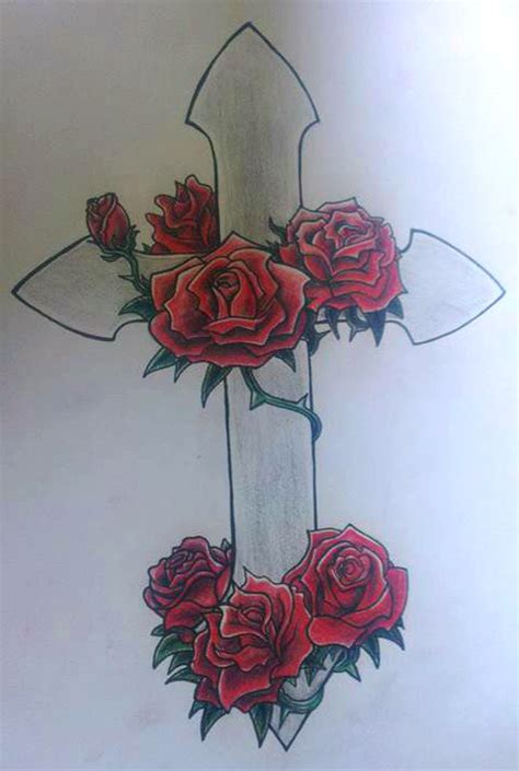 tattoo cross with roses designs roses and cross tattoo by r0binjonsson on deviantart
