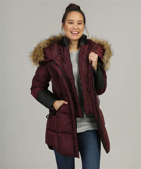Top With Faux Fur Detail On The Sleeves fur lined parka with leather sleeve detail balimel
