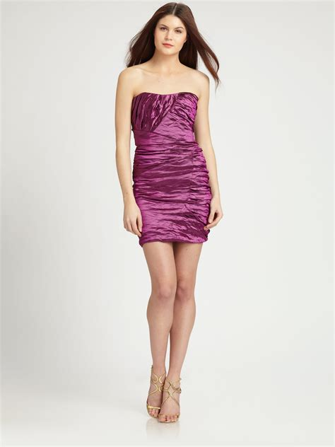 Strapless Frill Dress In The Style Of Miller by Lyst Miller Strapless Mini Dress In Purple