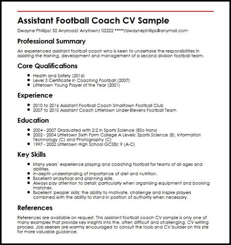 football coaching resume sles assistant football coach cv sle myperfectcv