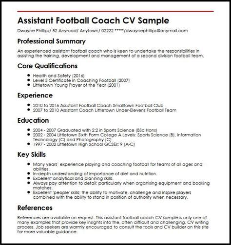 Assistant Football Coach CV Sample   MyperfectCV