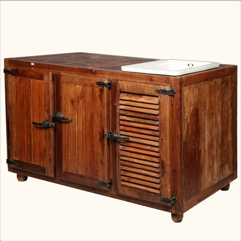 Teak Wood Butcher Style Top Storage Cabinet Kitchen Cart Kitchen Table With Storage Cabinets