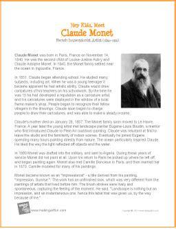 famous artist biography worksheet hey kids meet claude monet biography http