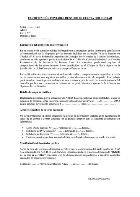 certificacion de ingresos por contador publico colombia certificaci 243 n contable de saldo de cuenta por cobrar