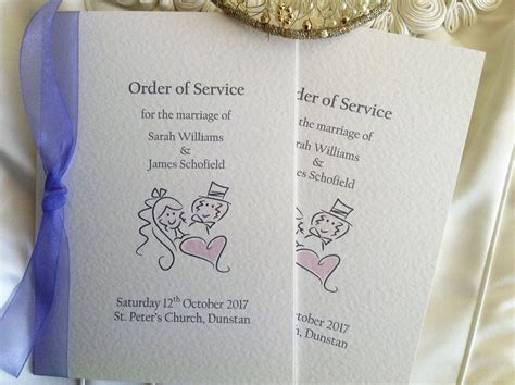 english country wedding order of service bluebird wedding stationery