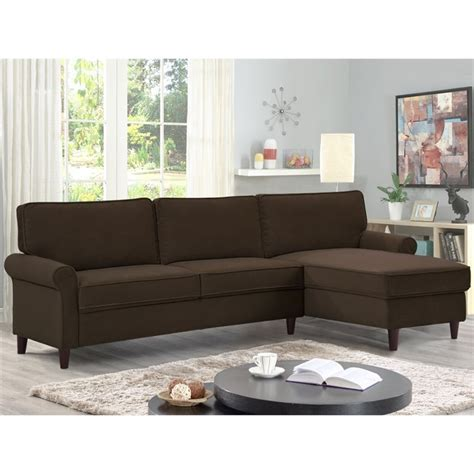 lifestyle solutions arnina sectional sofa set in chocolate
