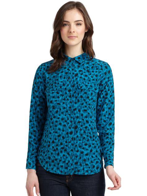 Blouse Owl Blue 1 lyst equipment slim signature silk leopard blouse in blue