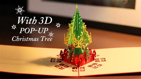 christmas greeting card with 3d pop up christmas tree