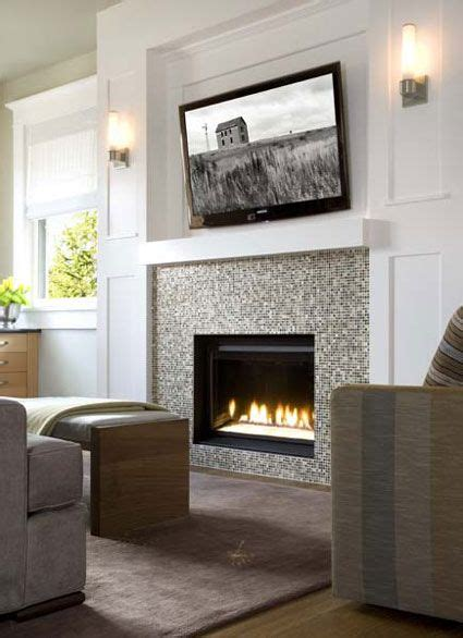 Tv Gas Fireplace Ideas by Tiny Mosaic Tile Surround For Gas Fireplace Insert Bliss