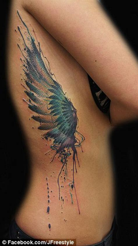 coloured angel tattoo angel wing tattoo colored wing tattoo angel tattoo