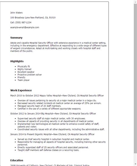 Resume Format Hospital professional hospital security officer templates to