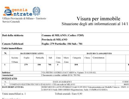 ufficio catastale visure catastali con