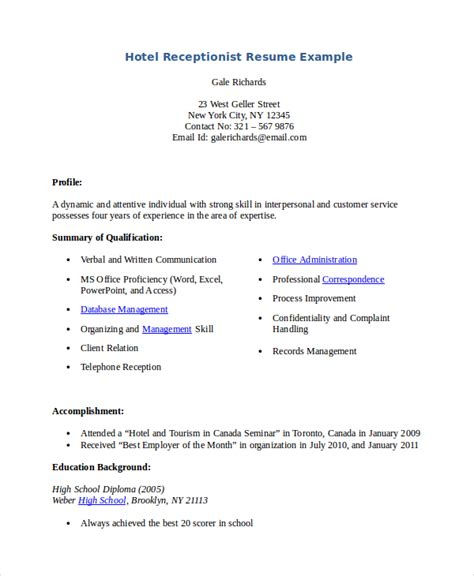 Sle Resume Format For Hotel Receptionist Hotel Receptionist Resume 28 Images Receptionist Resume Template 7 Free Word Pdf Document