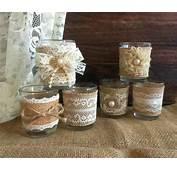 6 Naturlap Burlap And Lace Covered Votive Tea Candles