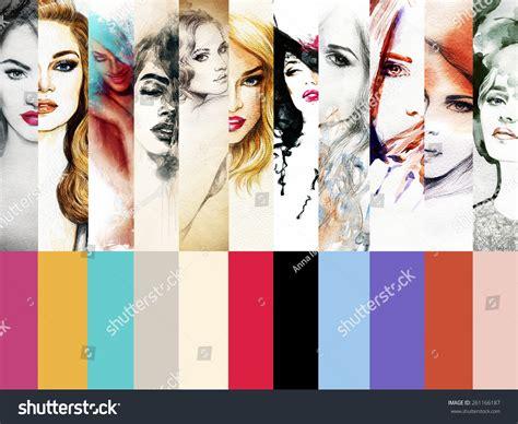 collage fashion illustrationswoman portrait abstract